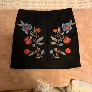 Black and embroidered skirt